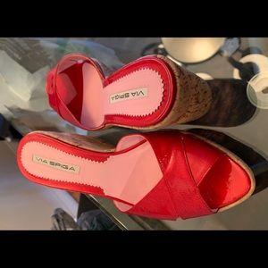 Via Spiga Red Patent Leather Cork Wedge Heels